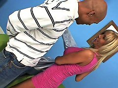 Vivacious Blonde Cougar With Huge Tits Sucking A Big Black Cock