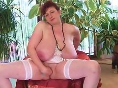 Huge Boobs Mature Sucks And Licks Her Nipples