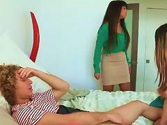 Big Tits MILF Threesome With Teen Couple