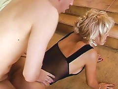 Trashy Older C Cup Blonde Sucks Young Dude's Cock Then