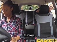 Fake Driving School Busty Ebony Fails Her Test With Lesbian