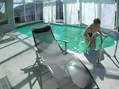 Busty Milf Masturbating At The Pool