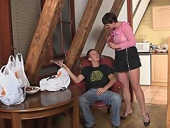 Granny Is Tempted To Taste And Blow That Big Member And Receive It Between Her Legs In Different Poses From This Hunk