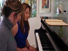 Brunette Hottie Gets Her Hairy Pussy Pleasured By Her Piano Teacher