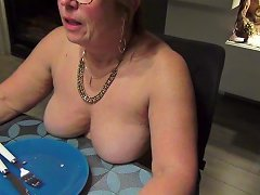 Helene Eats Naked In Front Of The Window